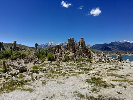 Mono, Lake, California, Tufa, Formation, Blue