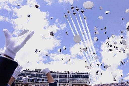 Usaf Academy, Colorado Springs, Sky, Clouds, Hats