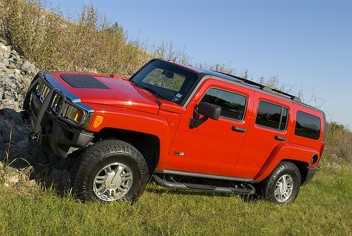 Hummer, Red, Truck, 4x4, Offroad, Vehicle, Car