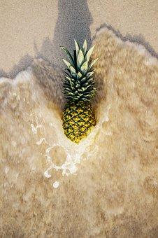 Pineapple, Ocean, Waves, Beach, Sand, Tropical, Foam