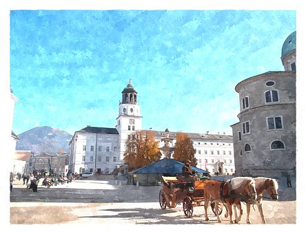 Salzburg, Watercolour, Coach, Historic Center, Austria