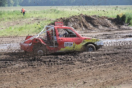 Racing, Car, Mud
