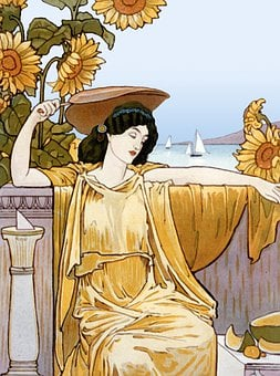 Woman, Sunflowers, Cartoon, Drawing