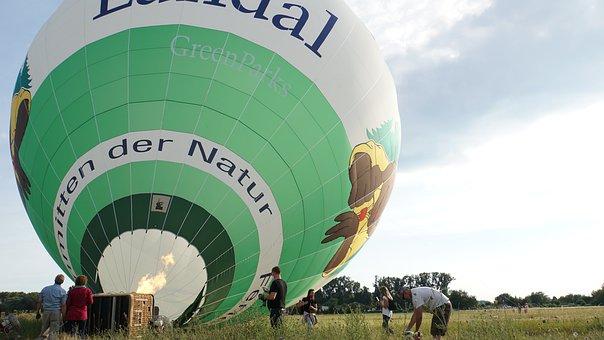 Hot Air Balloon, Burner, Fire, Fans, Human