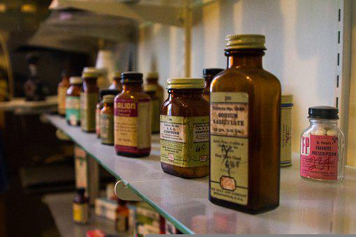 Medicine, Bottles, Shelf, Old, Antique