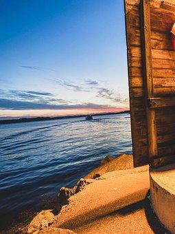 Boat, Sunset, Sea, Ocean, Ship, Sunrise, Sky, Calm