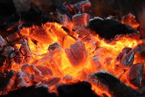 Fire, Coals, Hot, Background, Red, Orange