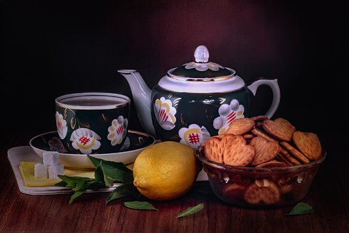 Tea, Biscuits, Teapot, Cup, Lemon