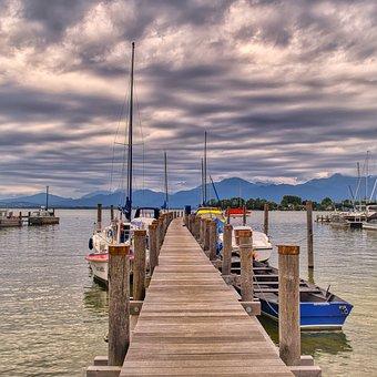Boats, Boardwalk, Port, Jetty, Bank, Nature