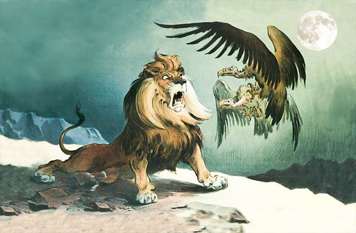 Lion, Vulture, Cartoon, Night, Moon, King Of The Jungle
