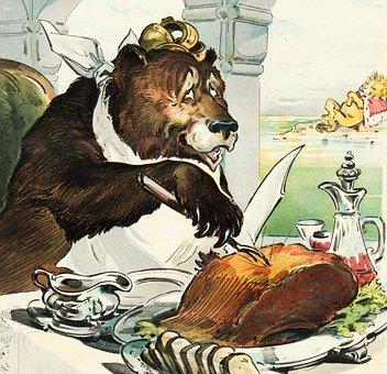 Bear, Crown, Feast, Eat, Cartoon, Drawing