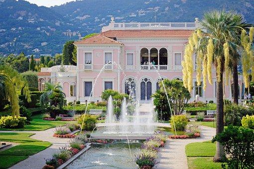 Villa, Mansion, Fountain, Villa Ephrussi De Rothschild