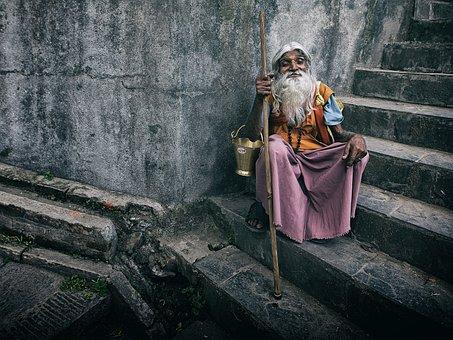 Portrait, Person, Human, Old Man, Kathmandu, Nepal