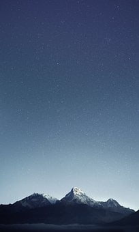 Mountains, Stars, Night, Sky, Universe, Nature, Blue