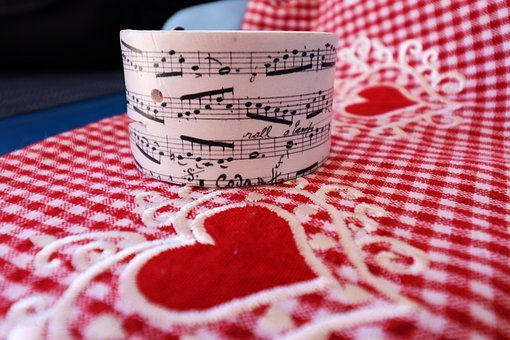Tablecloth, Music Sheet, Hearts, Red, Love, Romantic
