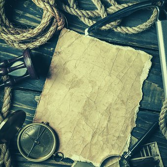 Vintage, Paper, Compass, Rope, Travel