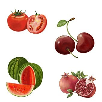 Fruits, Tomato, Cherry, Watermelon, Pomegranate Fruit