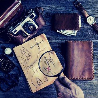Treasure, Treasure Map, Map, Camera, Adventure, Purse