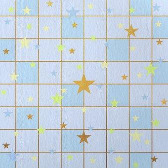 Stars, Pattern, Blue, Golden, Lines, Background