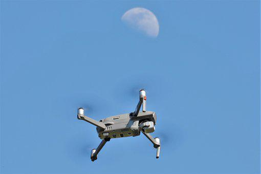 Drone, Moon, Sky, Technology, Monitoring, Atmosphere