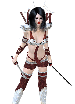 Girl, Armor, Fantasy, Warrior, Weapon, 3d, Sword