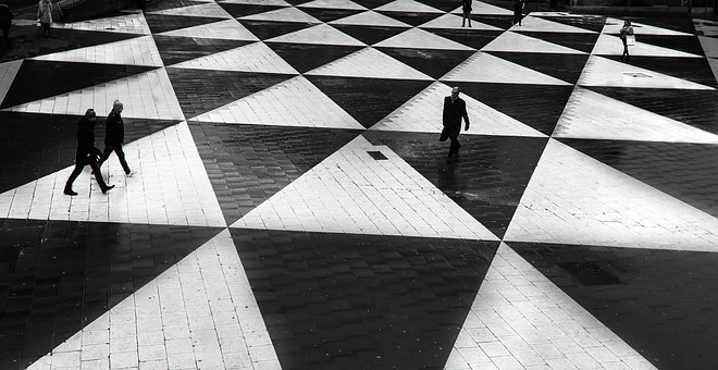 Pattern, Walking, People, Men, Architecture, Art