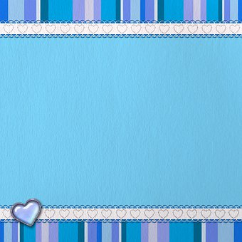 Ribbons, Blue, Stripes, Heart, Background, Scrapbooking