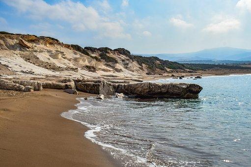 Beach, Waves, Island, Sea, Clouds, Cyprus, Akamas