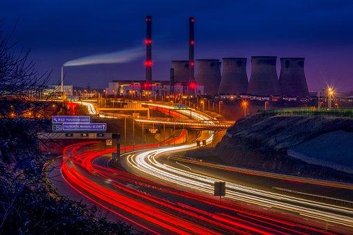 Ferrybridge, Power Station, Light Trails, Motorway