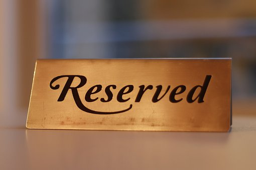Reservation, Reserved, Metal, Plate, Hotel, Elegant