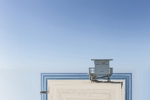 Beach, Beach House, Sand, Hut, Lifeguard, Fold, Folded