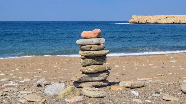 Stones, Beach, Seashore, Sea Side, Waves, Stack