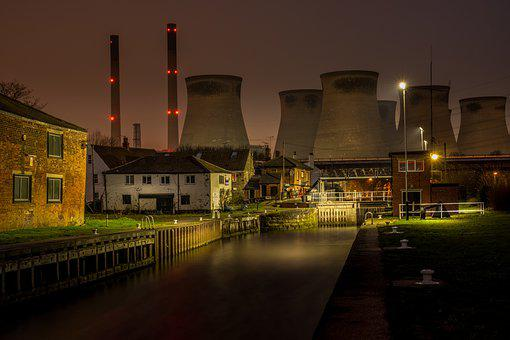 Power Station, Canal, Nighttime, Lights, Glow, Water
