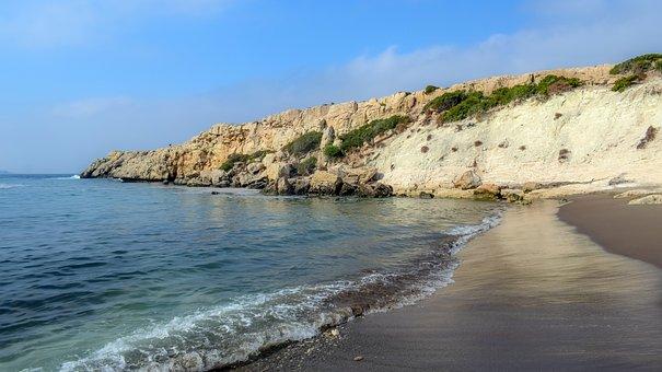 Beach, Waves, Mountain, Sea, Cyprus, Landscape, Akamas