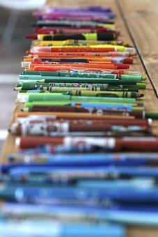 Colores, Colorido, Mesa, Amarillo, Verde, Morado, Azul
