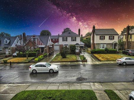 Suburbia, Street, Car, Driving, Fantasy, Neighborhood
