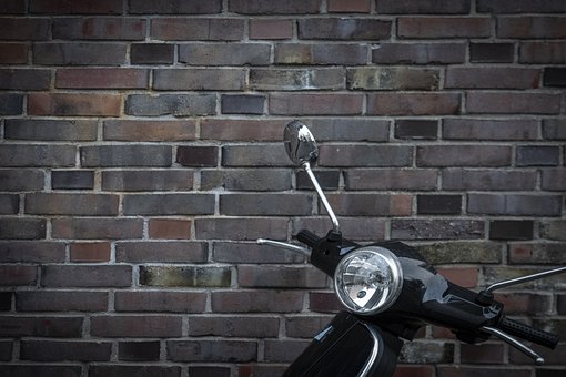 Vespa, City, Wall, Motor Scooter, Moped, Vehicle, Retro