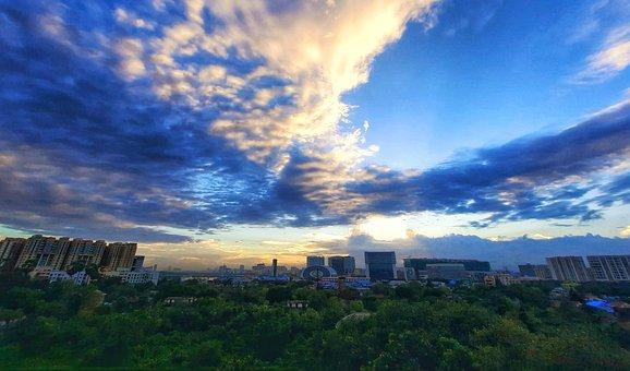 Blue Sky, Color, Clouds Buildings, City