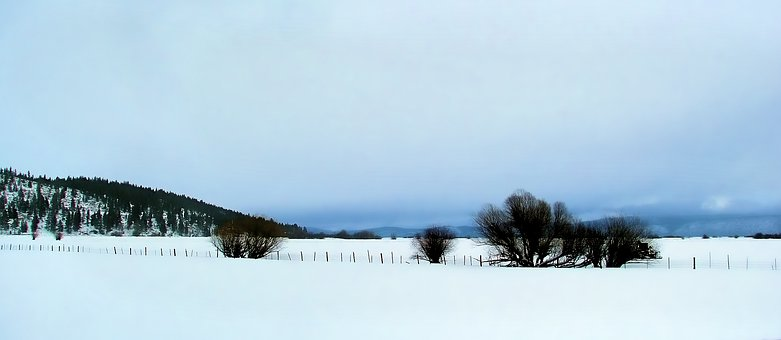 Snow, Valley, Minimalism, Mountains, Landscape, Cold