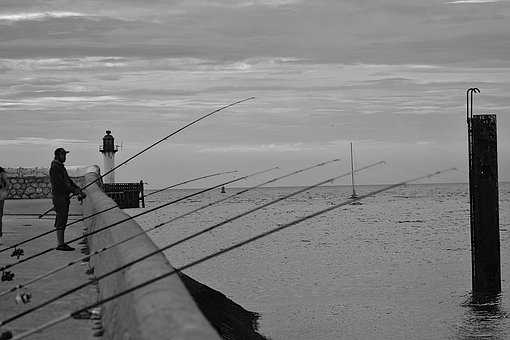 Angler, Lake, Lighthouse, Clouds, Black, White