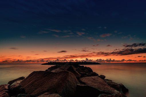 Sunrise, Long Exposure, Lighting, Baltic Sea, Water
