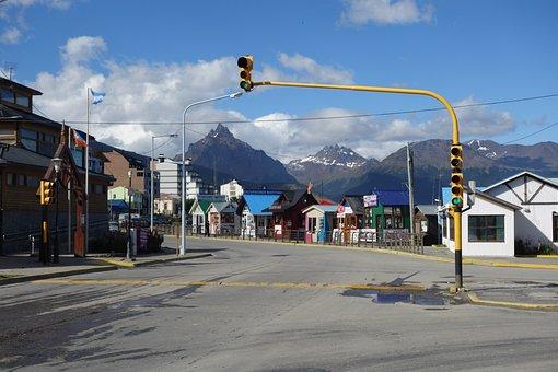 Road, Street Light, City, Mountain, Argentina