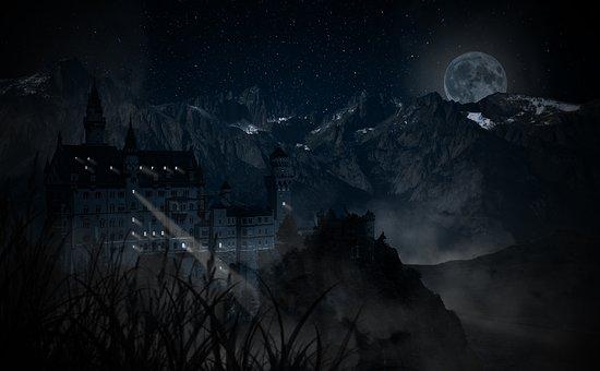 Castle, Enchanted Castle, Halloween, Night, Dark