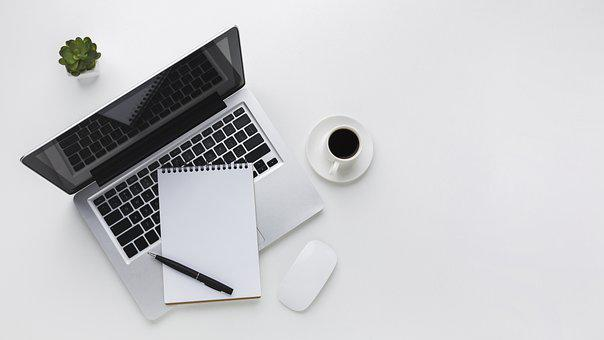 Laptop, Coffee, Notebook, Paper