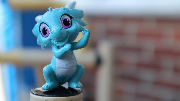 Toy, Gradon, Miniature Blue Dragon, Children, Play