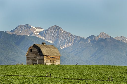 Montana, Barn, Farming, Mission Mountains, Potato Field
