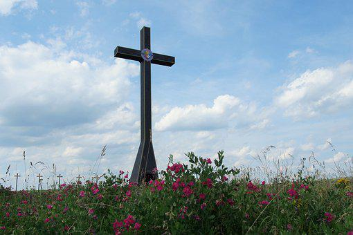 Cross, Symbol, Religion, Flowers, Field, Slovakia