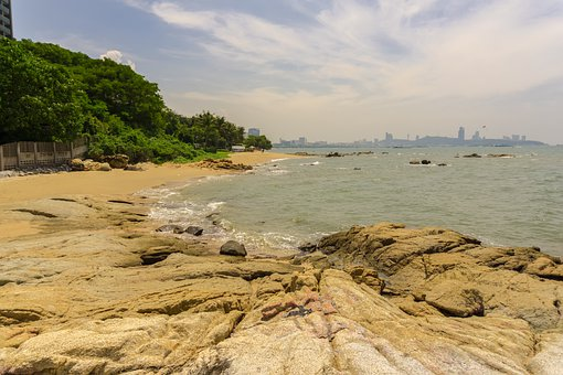 Rock, Beach, Bank, Sea, Water, Thailand, Asia, Stones
