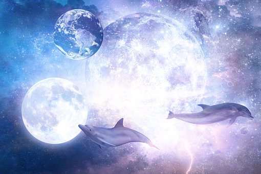 Moon, Dolphins, Space, Earth, Sci-fi, Science Fiction