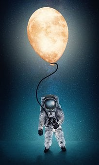 Astronaut, Moon, Balloon, Stars, Space, Galaxy